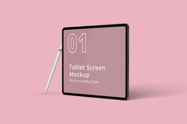 Landscape tablet screen mockup with pencil right view