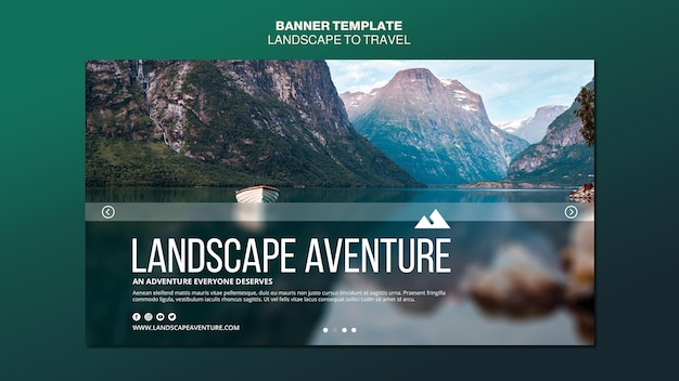 Landscape for travel concept banner template