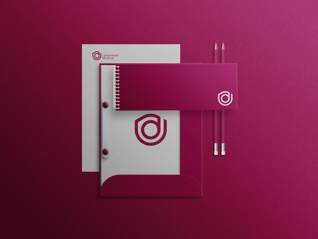 Landscapes notrbook on file cabinet mockup with letterhead