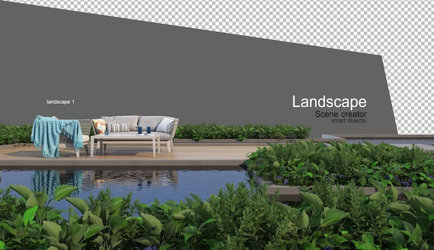 Landscaping and outdoor furniture rendering