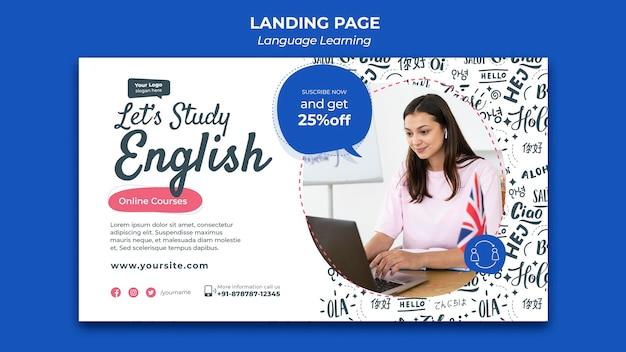 Language learning landing page design template