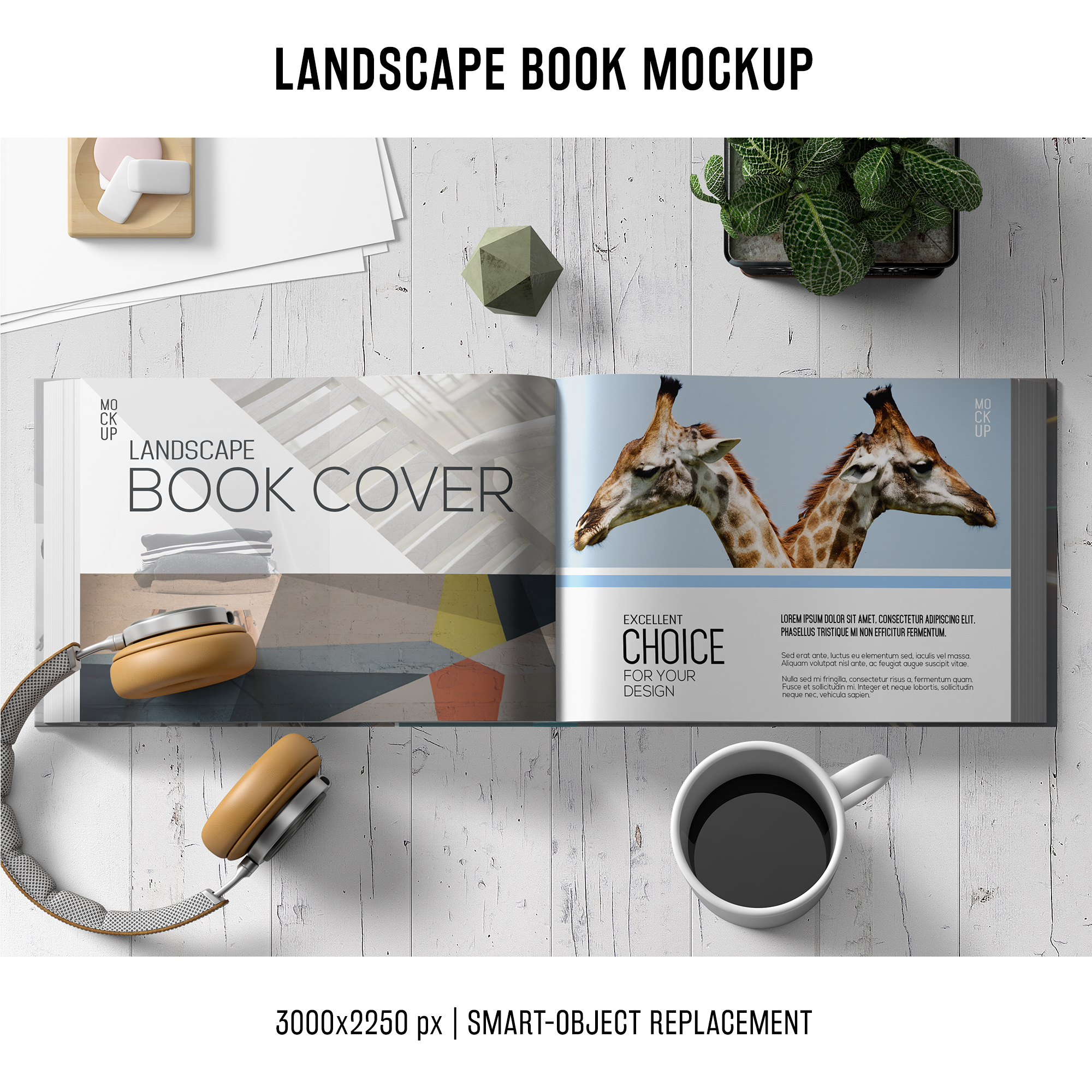 Lanscape book mockup