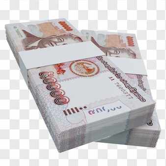 라오스 통화 킵 50.000: lak 라오스 지폐 스택