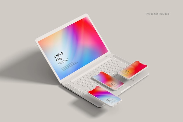 Глиняный макет ноутбука и смартфона Premium Psd