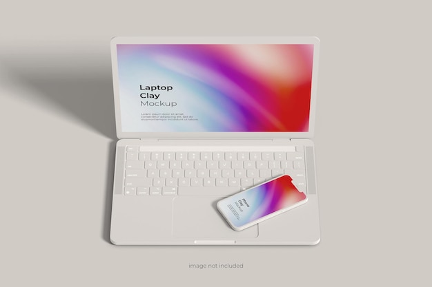 Глиняный макет ноутбука и смартфона