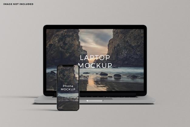 ノートパソコンとスマートフォンのデバイス画面のモックアップ