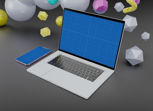 ノートパソコンとスマートフォンのモックアップテンプレート