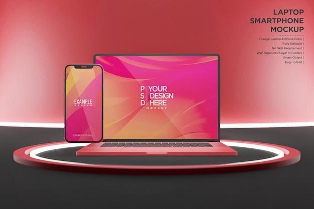 네온 불빛이있는 노트북 및 스마트 폰 모형