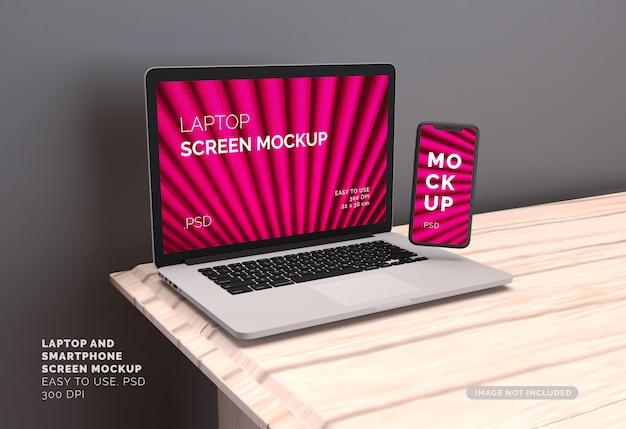 노트북 및 스마트 폰 화면 모형