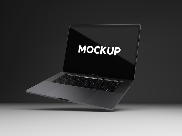 Laptop on black background mock up design
