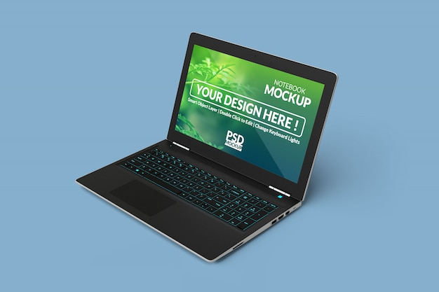 Laptop computer device with a mock up screen with in right angled isometric view
