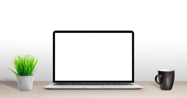 Laptop computer mockup on office desk.