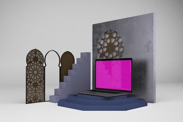 Дизайн ноутбука в 3d-рендеринге мокапа