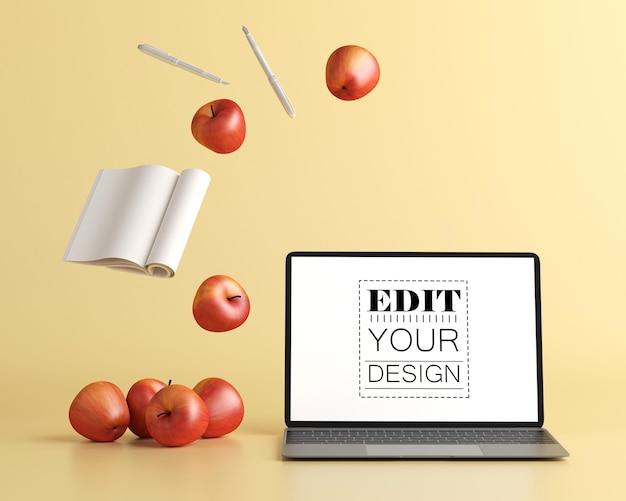 Laptop on desk in work space psd mockup