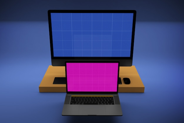 Laptop and desktop computer with mockup screen