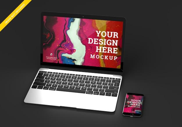 Laptop device mock up screen design. template psd.