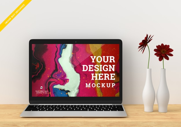 Laptop device mockup screen design. template psd.