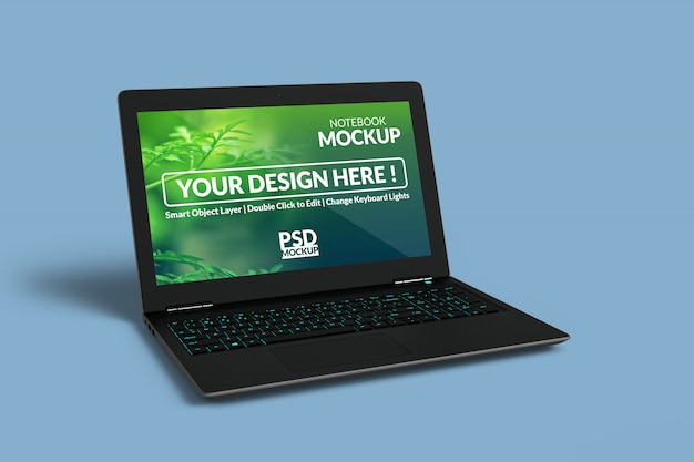 Laptop device with a mock up screen with in left angled isometric view