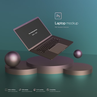 Laptop floating in an abstract environment mockup