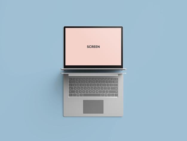 Laptop on floor mockup