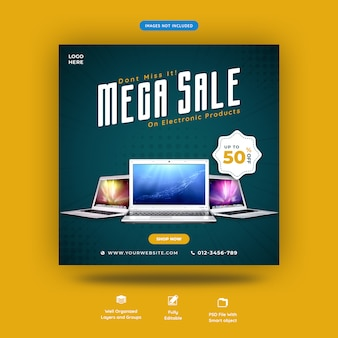 Laptop or gadget for sale social media banner template premium psd
