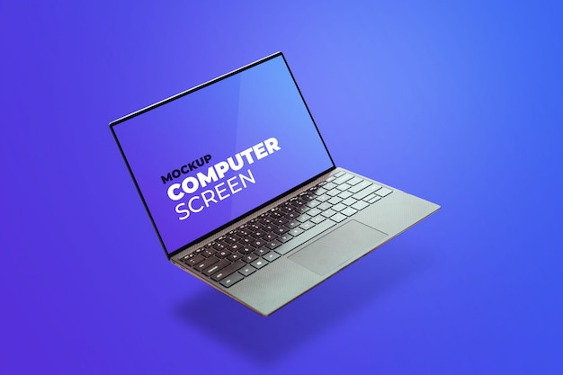 Ноутбук серый плавающий мокап