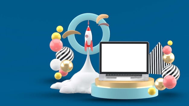 The laptop is surrounded by a rocket in a circle on a blue