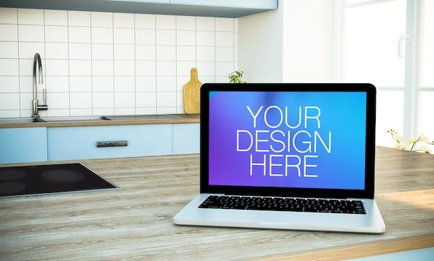 Laptop at kitchen mock up