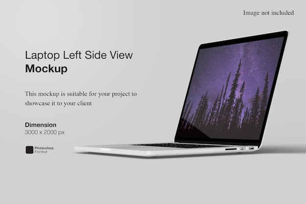 Макет ноутбука с левой стороны