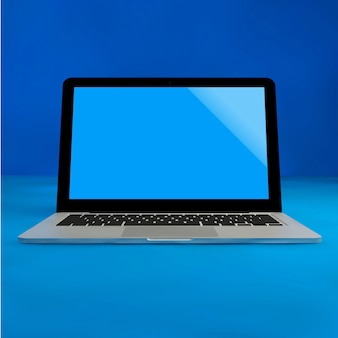Laptop mock up on blue pastel color background