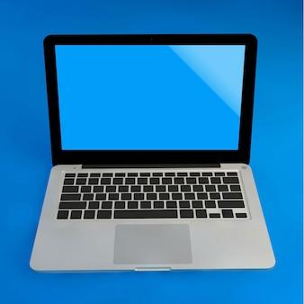 青いパステルカラーの背景にモックアップのラップトップ