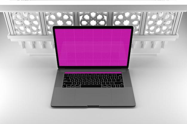 Laptop mockup in arabic decoration