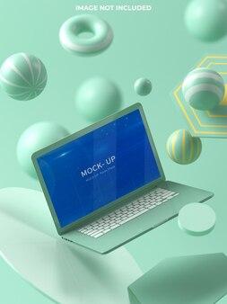Laptop mockup design in 3d rendering