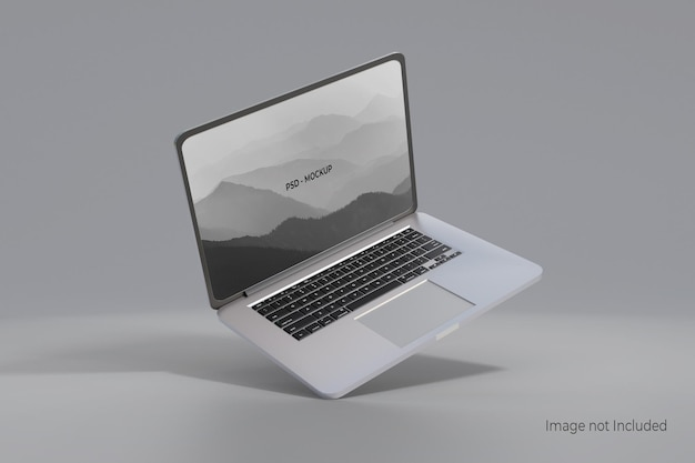 Laptop mockup design isolated on gray