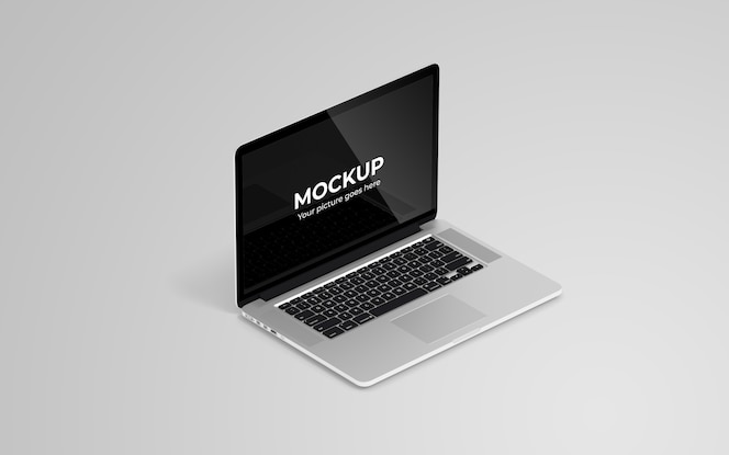 Laptop mockup high angle view