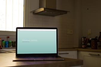 Laptop mockup in kitchen