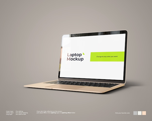 Laptop mockup looks right view