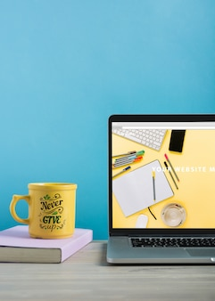 Laptop mockup and mug