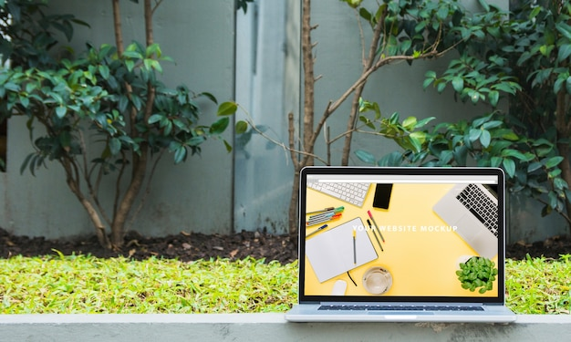Laptop mockup outdoors