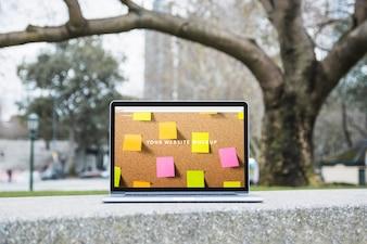 Laptop mockup outdoors