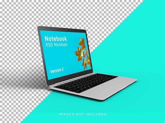Ноутбук макет реалистичные наклонный вид сбоку изолированные