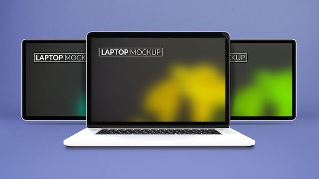 分離されたラップトップモックアップ画面