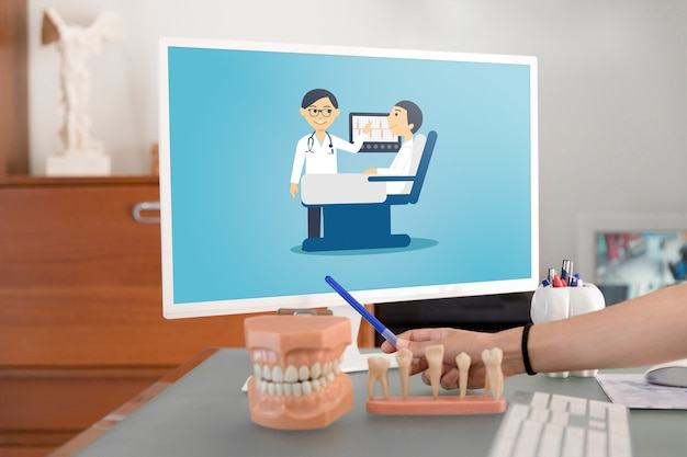 Laptop mockup with dentist concept