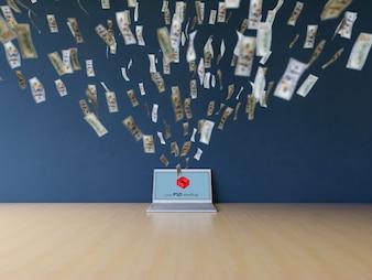 Laptop mockup with dollar bills flying towards it