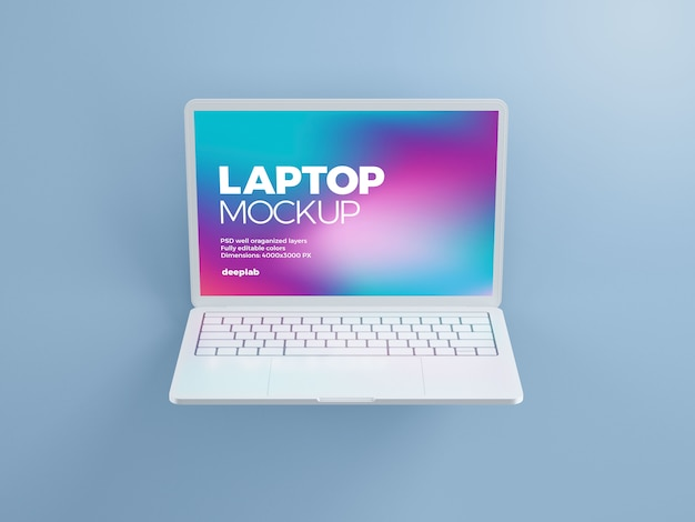 Laptop mockup with editable background color