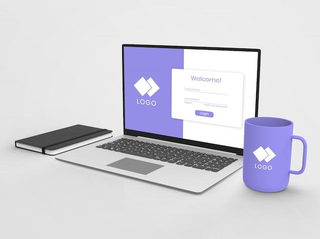Laptop mockup with mug
