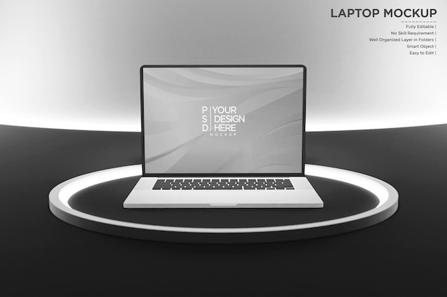 Laptop mockup with neon lights