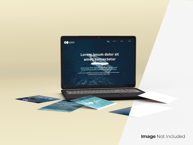 Laptop mockup with pages around it open computer for web design and white papers fully editable