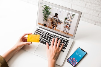 Laptop mockup with payment concept