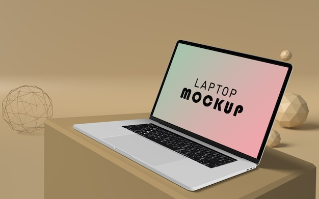 Laptop mockup with pop background free psd